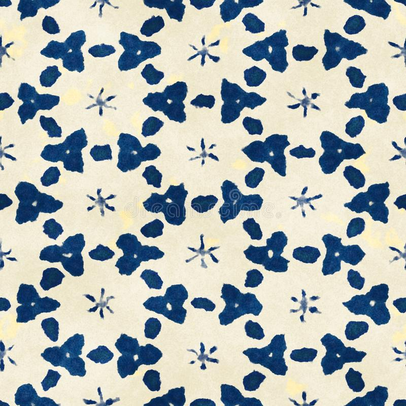 Buntes quadratisches Muster gebürtiger des Batiks nahtloser Aquarell künstlerischer Art boho lizenzfreies stockfoto