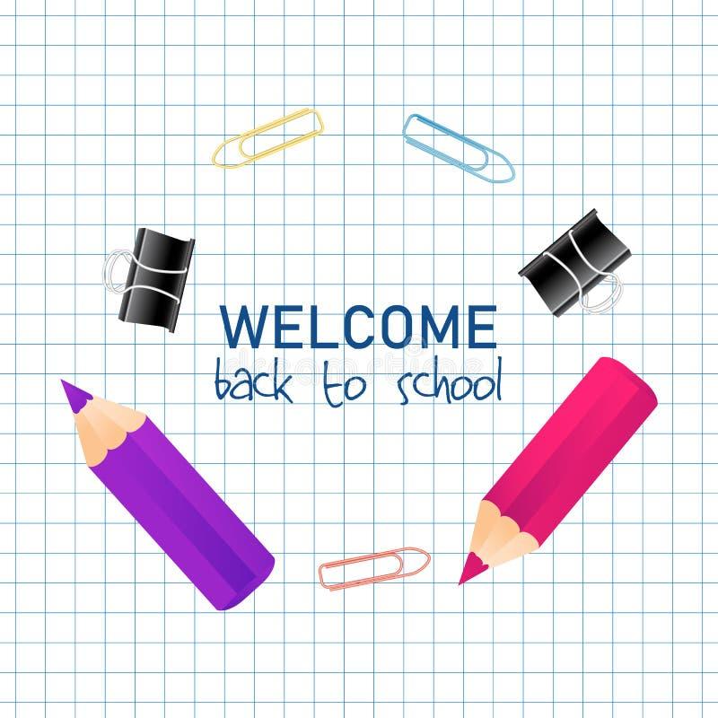 Buntes realistisches Willkommen 3D zurück zu Schultitel-Text mit kleinen Bleistiften in einem runden Rahmen für Plakat-Entwurf Ve stock abbildung