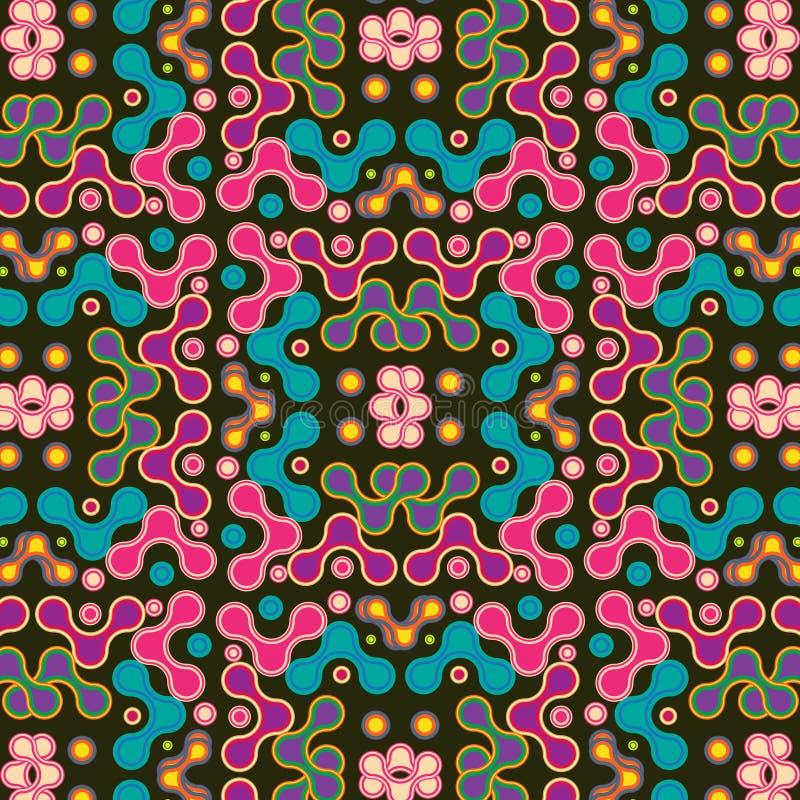 Buntes Rosa-, Purpurrotes und Blauessymmetrisches Muster über schwarzem Hintergrund lizenzfreie abbildung