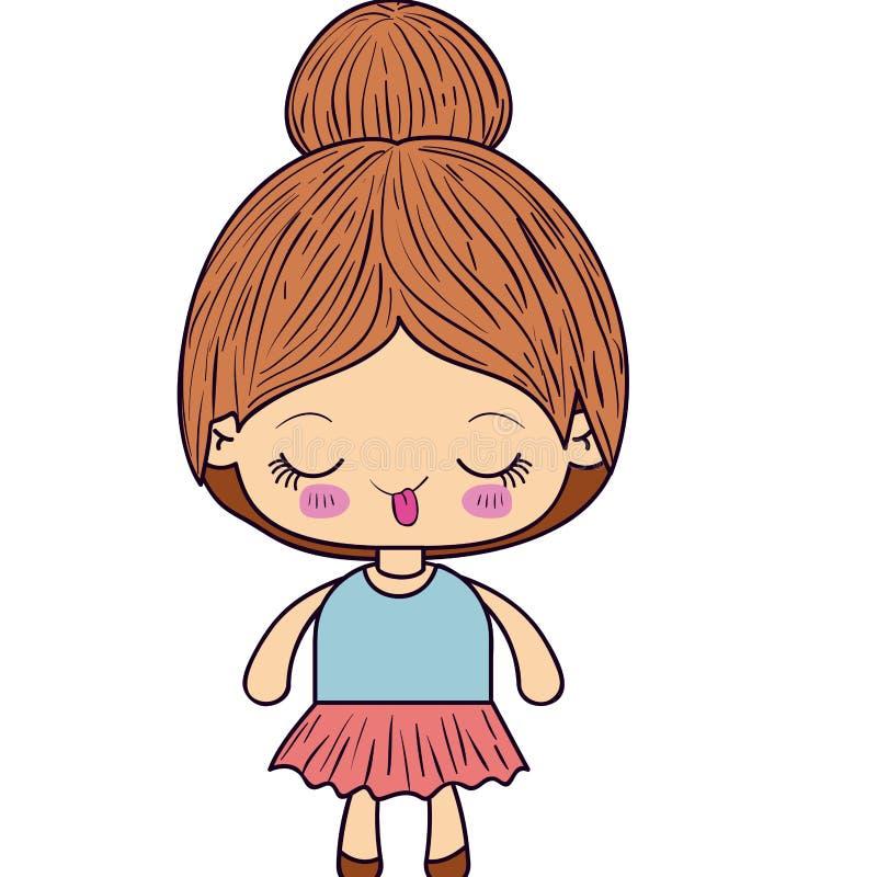 Buntes Schattenbild kawaii netten kleinen Mädchens mit dem gesammelten Haar und lustigem Gesichtsausdruck lizenzfreie abbildung