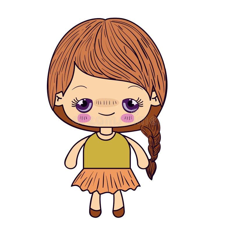 Buntes Schattenbild kawaii netten kleinen Mädchens mit dem umsponnenen Haar und verlegenem Gesichtsausdruck lizenzfreie abbildung