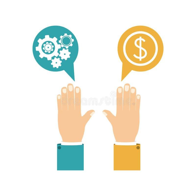 Buntes Schattenbild mit den Händen dialogieren Bereiche mit Zahntrieben und Geldsymbol vektor abbildung