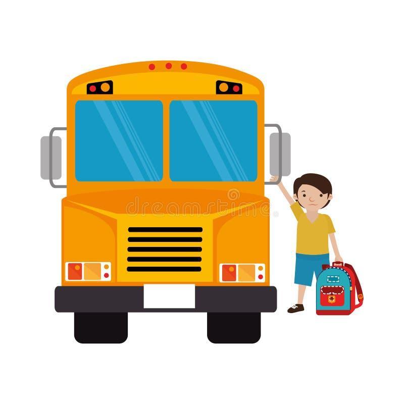 Buntes Schattenbild mit Schulbus mit Studentenjungen vektor abbildung