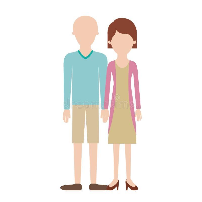 Buntes Schattenbild und er der gesichtslosen Paare mit T-Shirt langärmligen und kurzen Hosen und Schuhen mit Hoch verblassen Haar vektor abbildung