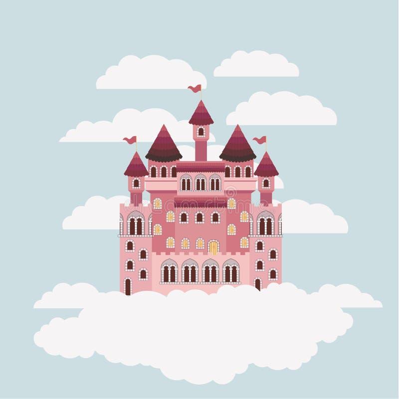 Buntes Schloss von Märchen im Himmel umgeben durch Wolken lizenzfreie abbildung