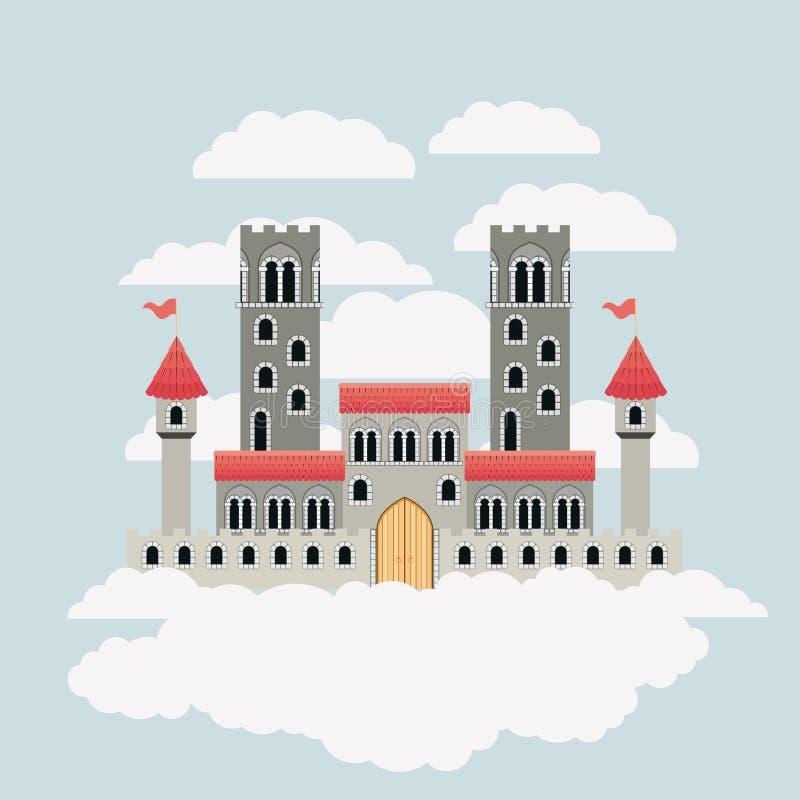 Buntes Schloss von Märchen im Himmel umgeben durch Wolken stock abbildung
