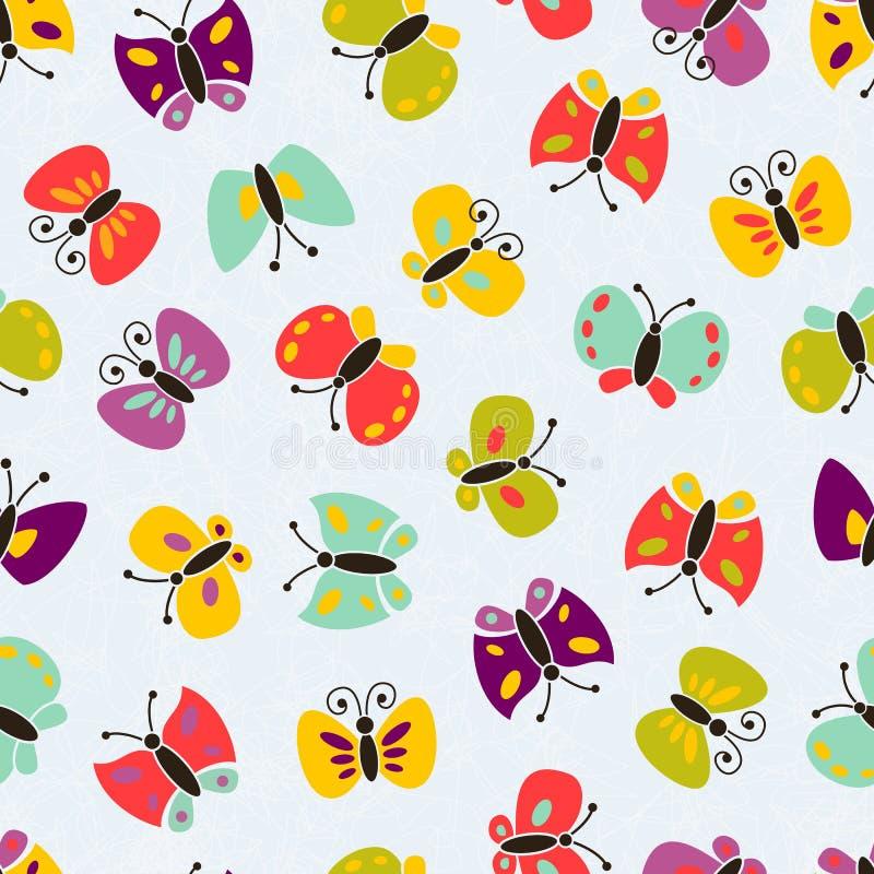 Buntes Schmetterlingsmuster des nahtlosen Vektors. lizenzfreie abbildung