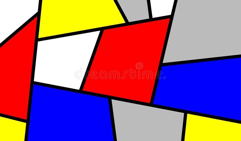 Buntes schräg liegendes Mondrian Kunst-Stück vektor abbildung