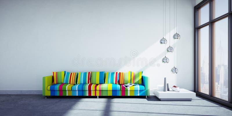 Buntes Sofa in einem modernen Wohnzimmer vektor abbildung