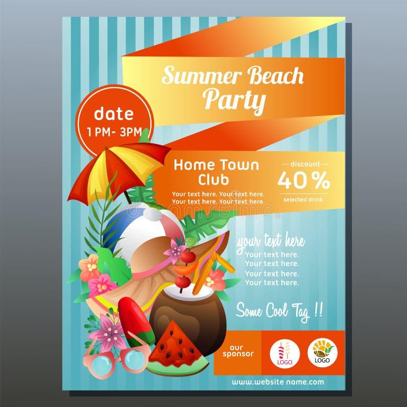 Buntes Sommerstrandfestplakat mit Regenschirmstrand vektor abbildung
