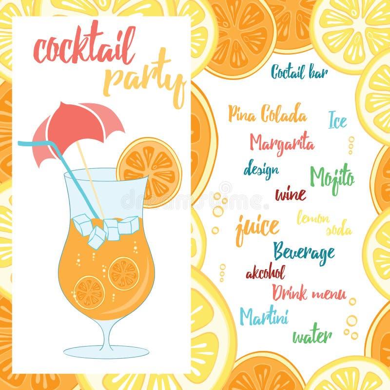 Buntes Strand-Barplakat mit einem Cocktail mit Orange Sommerfahnendesign für Cocktailparty vektor abbildung