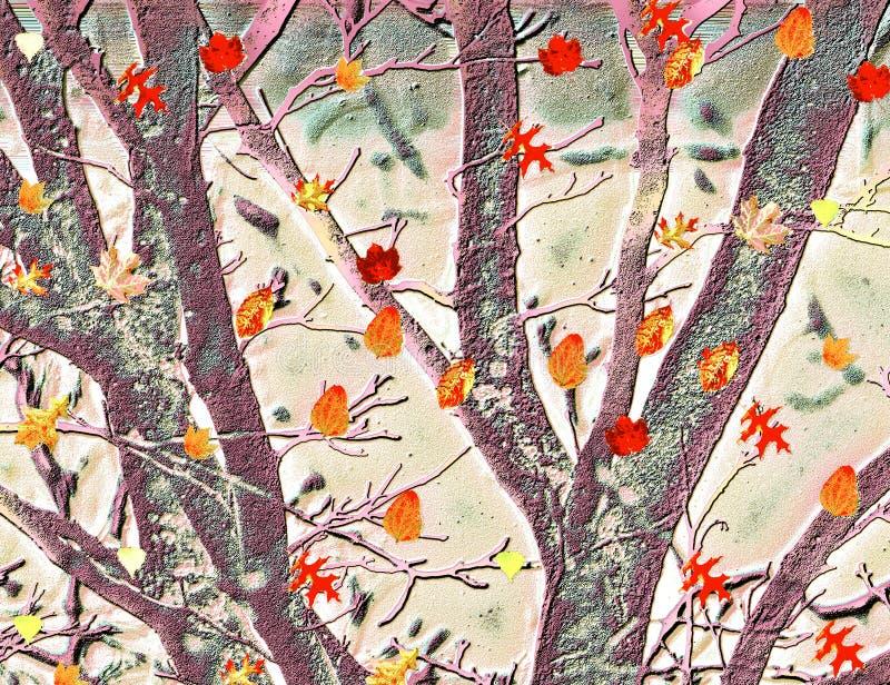 Buntes Tanzen verlässt gegen strukturierten Hintergrund von Bäumen stock abbildung