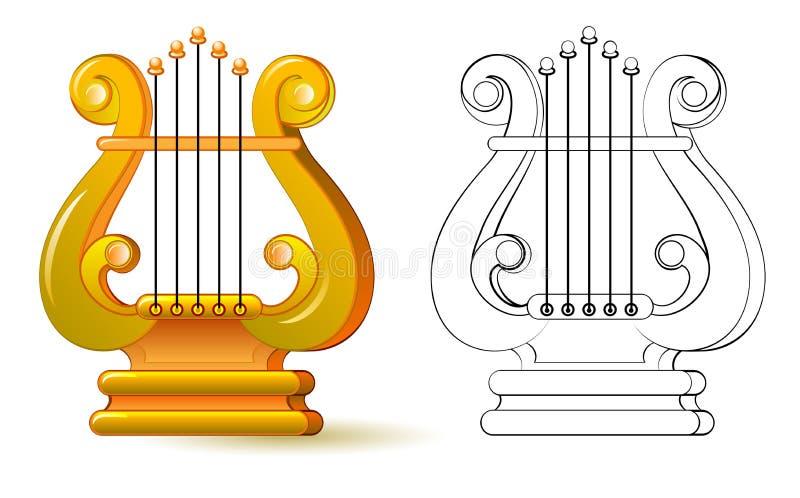Buntes und Schwarzweiss-Muster für die Färbung Abbildung von Lyre Symbol des altgriechischen Musikinstrumentes vektor abbildung