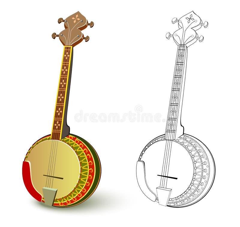 Buntes und Schwarzweiss-Muster f?r die F?rbung Illustration des Völker aufgereihten Musikinstrumentbanjos vektor abbildung