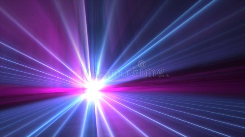 Buntes unscharfes Rosa der Zusammenfassung und des Explosionsaufflackerns 4k des blauen Sternes Tapete lizenzfreie abbildung