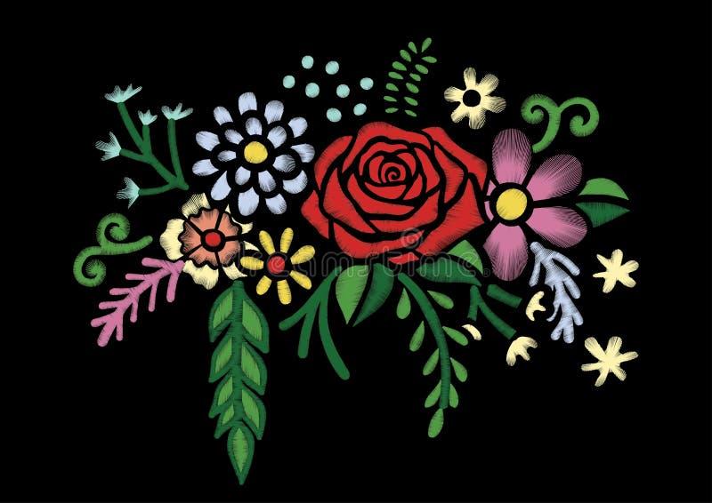 Buntes vereinfachtes Blumenmuster des ethnischen Ausschnitts der Stickerei mit Rosen Vector symmetrische traditionelle Volkblumen stock abbildung