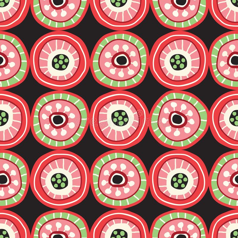 Buntes Volkskreis-Mosaik auf dunkler Hintergrund-Vektor-nahtlosem Muster Mutiger von Hand gezeichneter geometrischer Druck stock abbildung