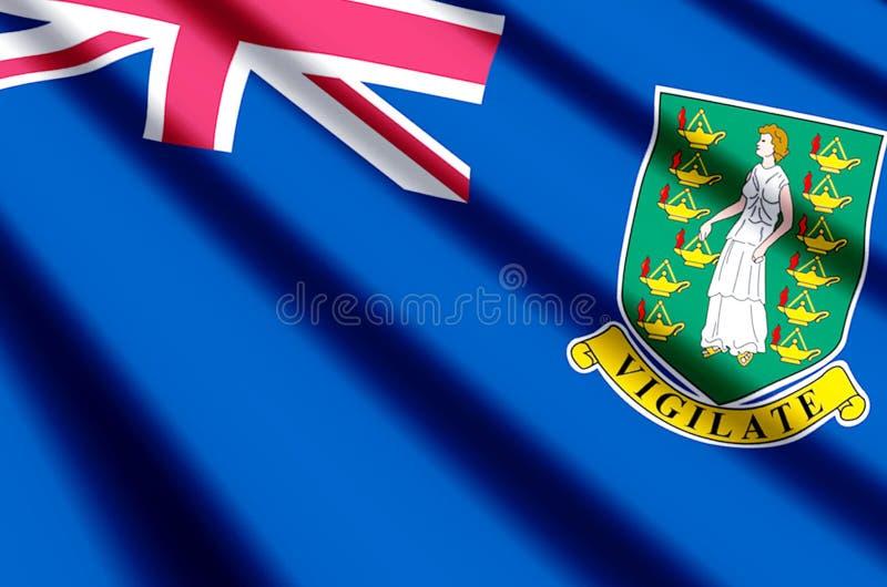 Buntes Wellenartig bewegen British Virgin Islands und Nahaufnahmeflaggenillustration vektor abbildung