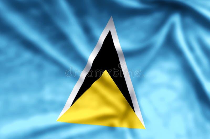 Buntes Wellenartig bewegen der St. Lucia und Nahaufnahmeflaggenillustration vektor abbildung