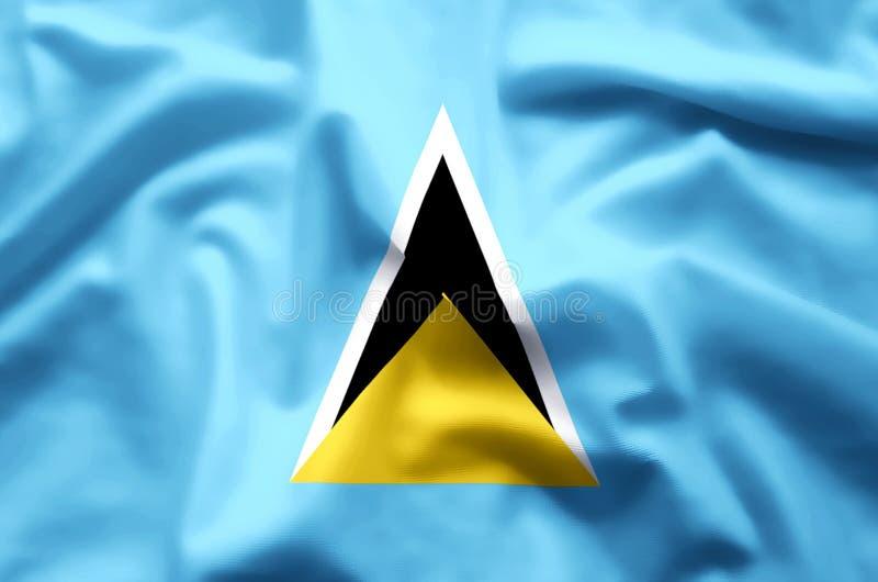 Buntes Wellenartig bewegen der St. Lucia und Nahaufnahmeflaggenillustration stock abbildung