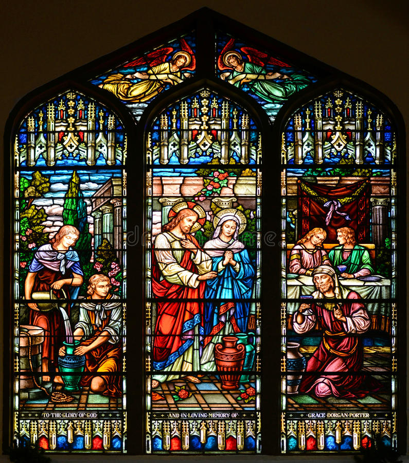 Buntglas-Fenster von St Paul Episkopale Kirche lizenzfreie stockbilder
