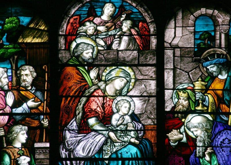 Buntglas - Geburt Christi-Szene lizenzfreies stockfoto