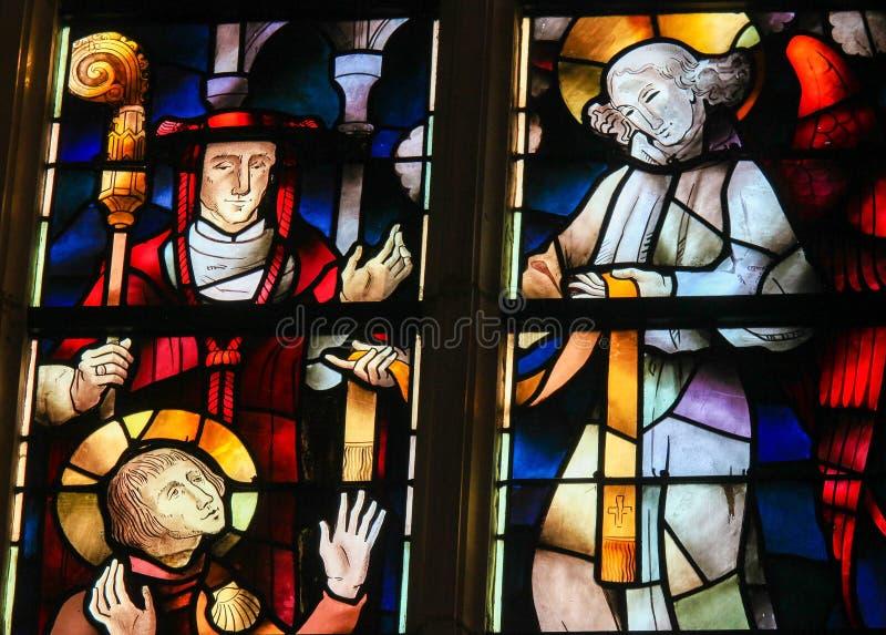 Buntglas - Heiliges Hubertus oder Hubert stockfoto