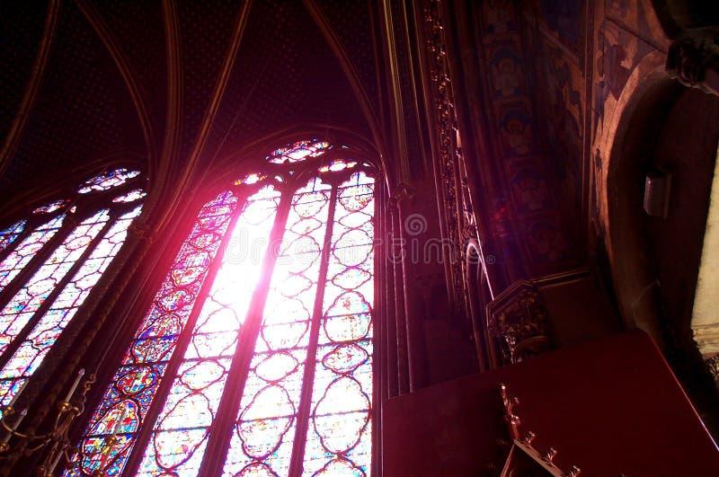 Buntglas Im Heiligen Chapelle Stockbild
