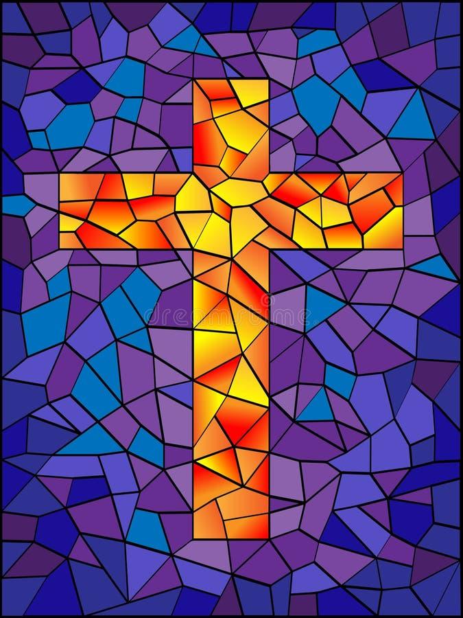 Buntglas-Kreuz vektor abbildung