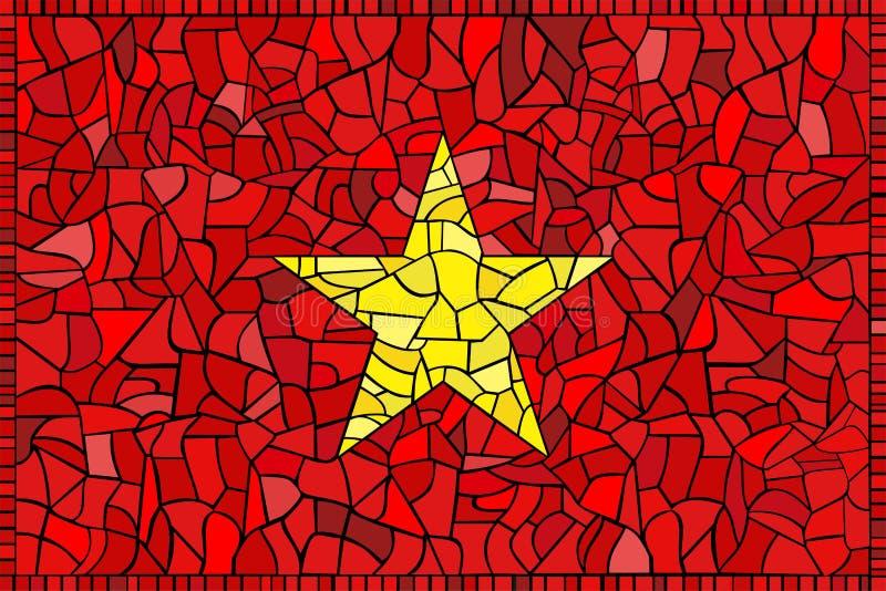 Buntglas-Markierungsfahne von Vietnam lizenzfreie abbildung