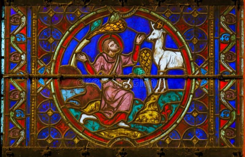 Buntglas in Notre Dame, Paris, das St. Eustace darstellt lizenzfreies stockfoto