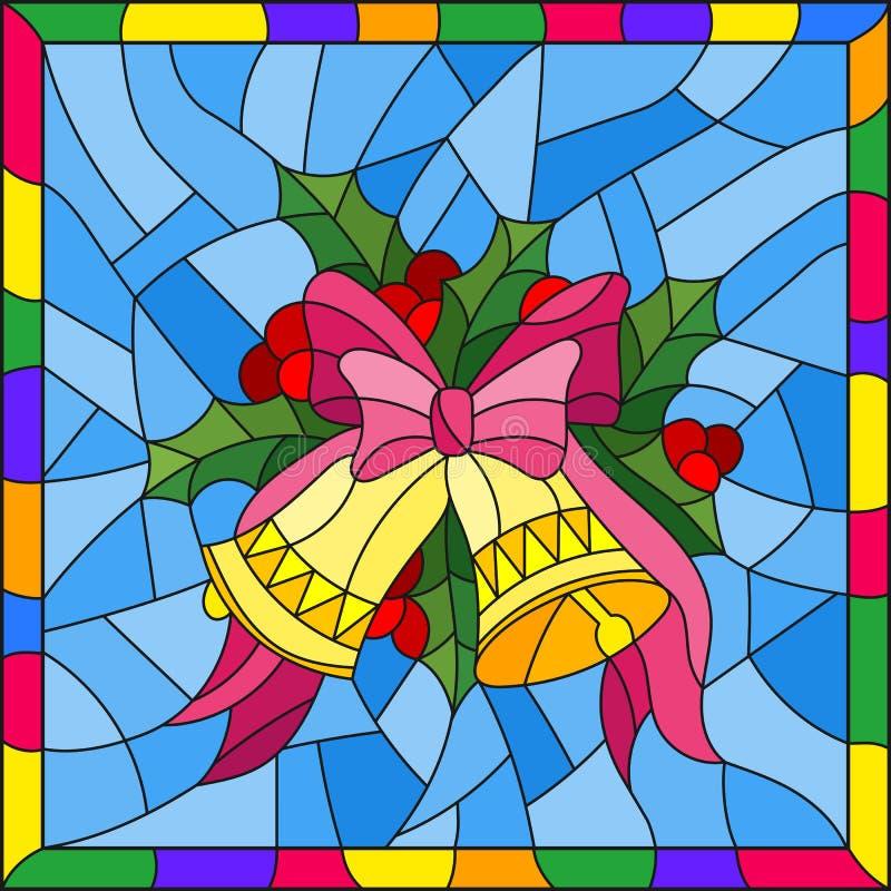 Buntglasillustration für neues Jahr und Weihnachten, Glocken, Stechpalmenniederlassungen und Bänder auf einem blauen Hintergrund  vektor abbildung