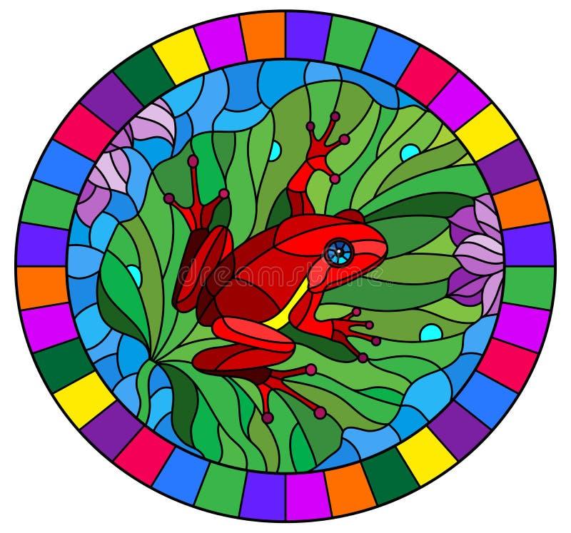 Buntglasillustration mit abstraktem rotem Frosch auf Lotus-Blatt auf Wasser und Blumen, ovales Bild im hellen Rahmen vektor abbildung
