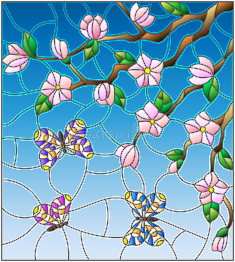 Buntglasillustration mit abstrakten Kirschblüten und -schmetterlingen auf einem Himmelhintergrund vektor abbildung