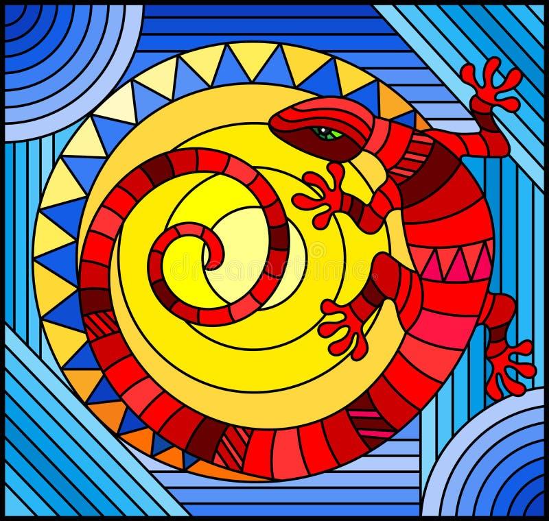 Buntglasillustration mit abstrakter roter Eidechse auf einem blauen Hintergrund mit Sonne vektor abbildung