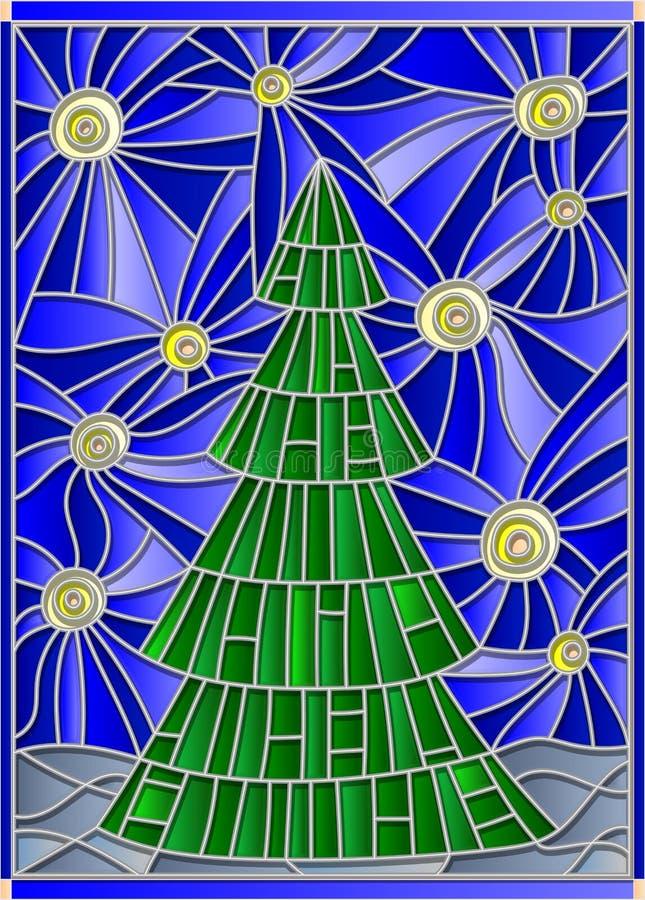 Buntglasillustration mit Bild eines Weihnachtsbaums gegen den sternenklaren Himmel lizenzfreie abbildung