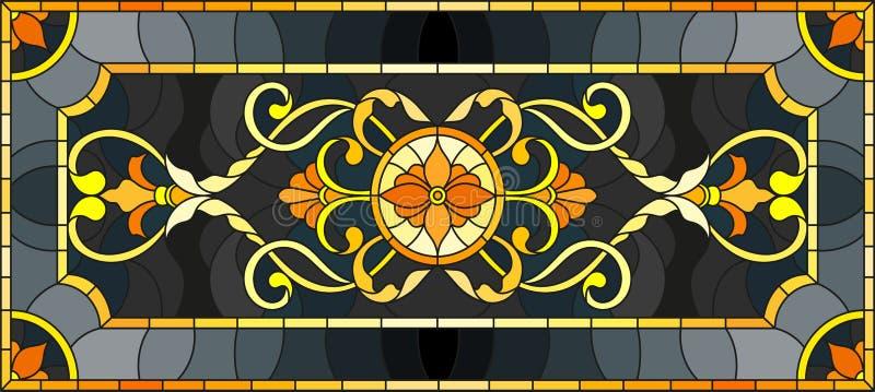 Buntglasillustration mit Blumenverzierung, nachgemachtem Gold auf dunklem Hintergrund mit Strudeln und Blumenmotiven stock abbildung