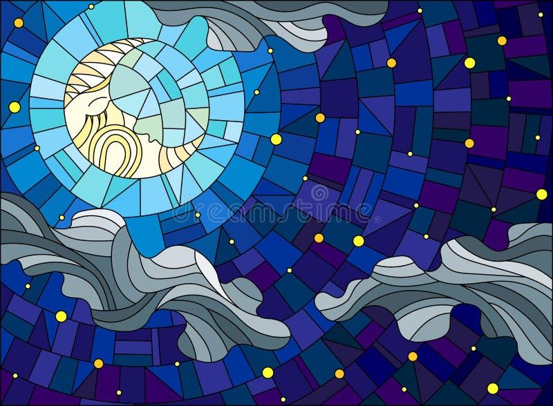 Buntglasillustration mit dem fabelhaften Mond mit einem Gesicht gegen den Himmel und die Wolken vektor abbildung