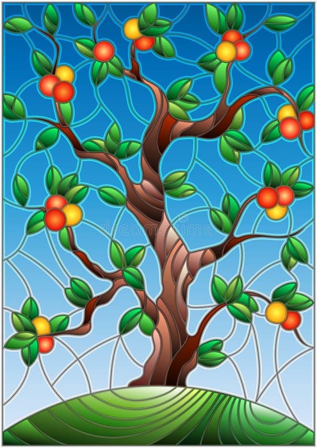 Buntglasillustration mit einem Orangenbaum, der allein auf einem Hügel gegen den Himmel steht lizenzfreie abbildung