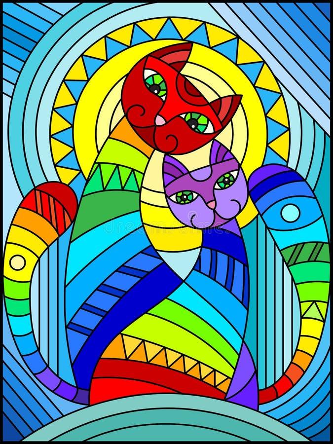 Buntglasillustration mit einem Paar abstrakten geometrischen Regenbogenkatzen auf einem blauen Hintergrund mit Sonne lizenzfreie abbildung