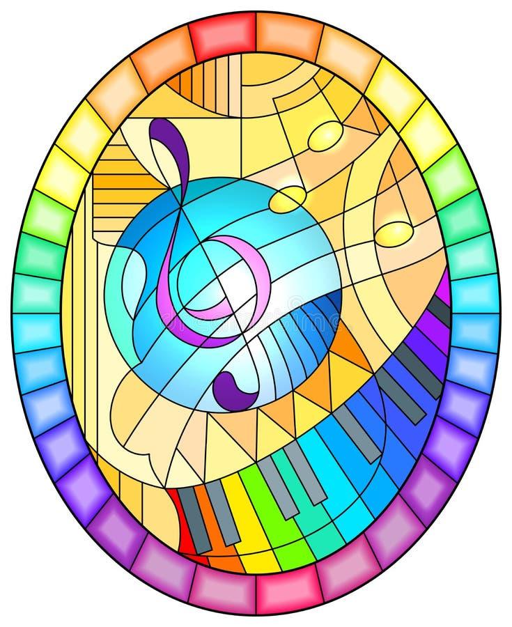 Buntglasillustration mit einem Violinschlüssel auf gelbem Hintergrund in der Buntglasart, ovales Bild in einem hellen Regenbogenr lizenzfreie abbildung