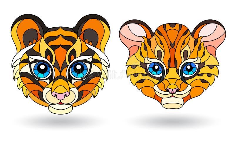 Buntglasillustration mit Elementen mit Tiergesichtern, netter Tiger und Leopard, lokalisiert auf weißem Hintergrund lizenzfreie abbildung