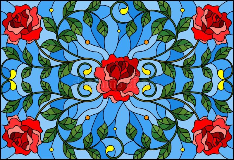Buntglasillustration mit Rotrose verzweigt sich auf blauen Hintergrund, rechteckiges Bild lizenzfreie abbildung