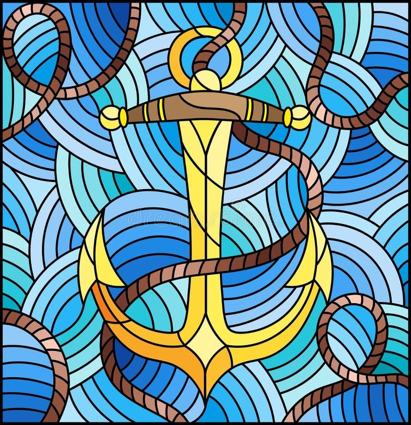 Buntglasillustration mit Schiffsanker und Seil auf dem Hintergrund von Wellen vektor abbildung