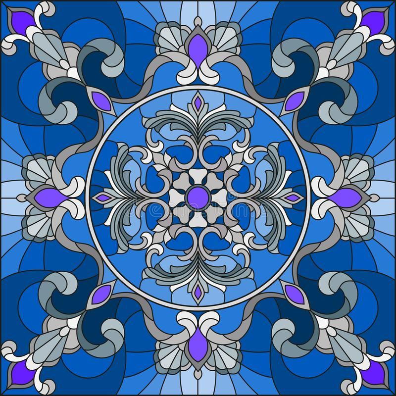 Buntglasillustration, quadratisches Spiegelbild mit silbernen Blumenverzierungen und Strudel n ein blauer Hintergrund vektor abbildung