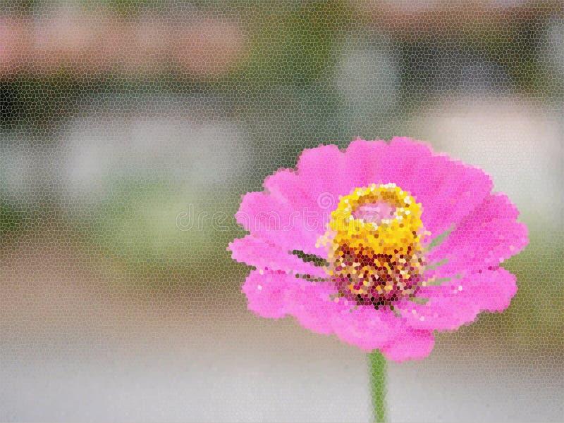Buntglasillustration Schöne blühende rosa Blume Ssingle mit seinen gelben Blütenstaub auf einem undeutlichen Hintergrund stockfotos