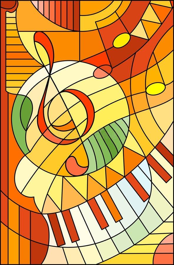 Buntglasillustration Zusammenfassungsbild eines Violinschlüssels in der Buntglasart, in den gelb-orangeen Tönen vektor abbildung