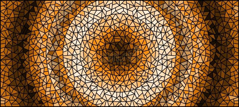Buntglasillustration Zusammenfassungshintergrund, Monochrom, tonen braunes, horizontales Bild vektor abbildung