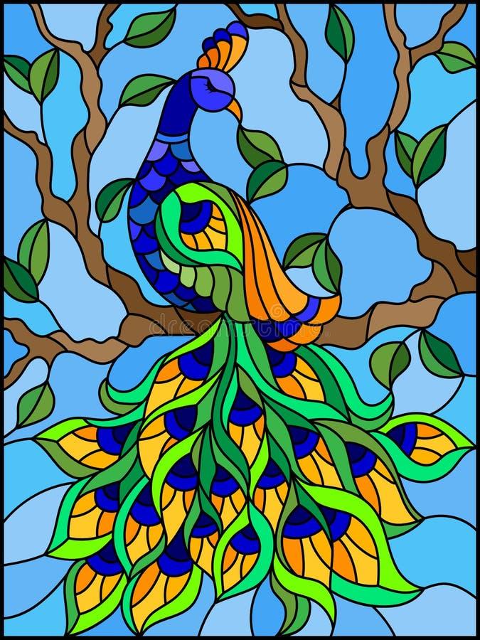 Buntglasillustrationsvogelpfau und -Baumaste auf Hintergrund des blauen Himmels stock abbildung