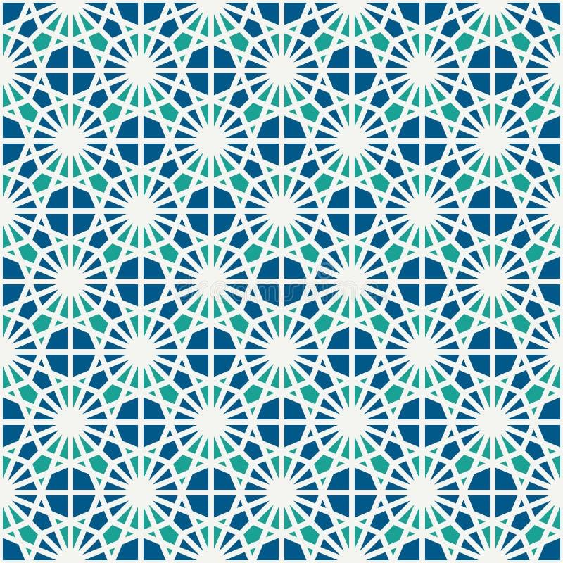 Buntglasmosaiknahtloses Oberflächenmuster Marokkanisches Keramikziegelmotiv Openwork Verzierung Kaleidoskophintergrund lizenzfreie abbildung